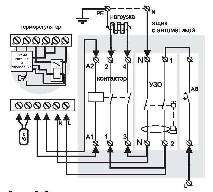 Подключение терморегулятора через магнитный пускатель схема